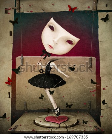 Conceptual illustration of dancing girl with  mask and  heart - stock photo