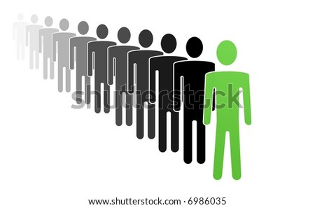 Conceptual illustration of first man in row - stock photo