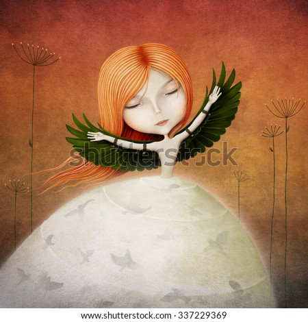 Conceptual illustration of girl with wings and birds - stock photo