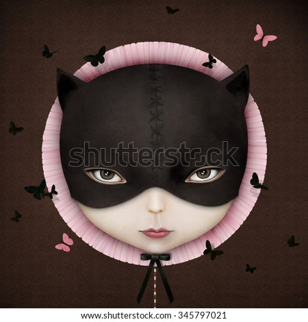 Conceptual illustration of the girl's face Cat - stock photo