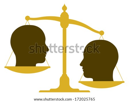 Conceptual illustration of the silhouette of an unbalanced vintage scale with two heads in profile on the pans depicting weight, value, inequality and imbalance or drawing a comparison - stock photo