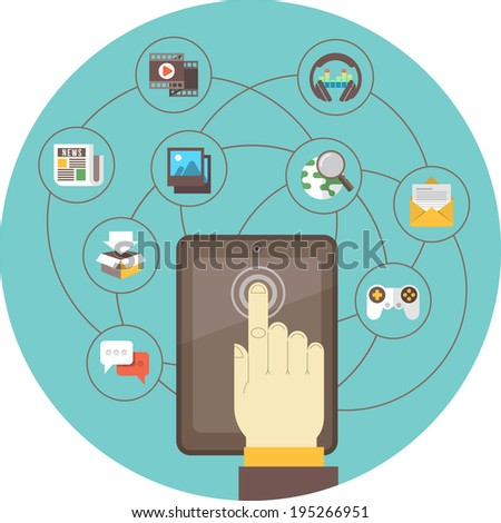 Conceptual illustration of the social networking using a tablet - stock photo