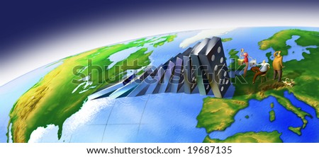 Conceptual illustration on the global financial crisis working like a domino effect. - stock photo