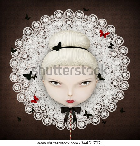Conceptual illustration or poster with  face of  girl with  lace collar and butterfly - stock photo