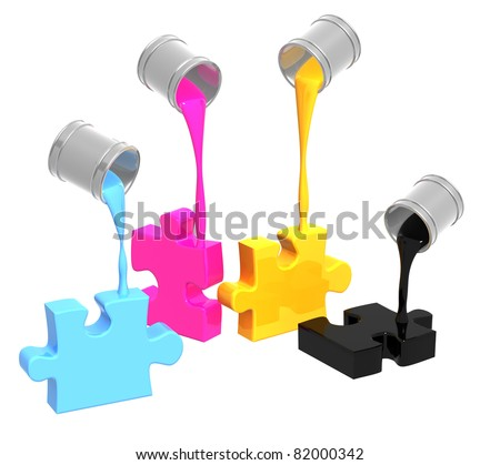 Conceptual image - a palette CMYK. Objects isolated over white - stock photo