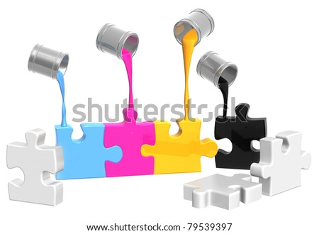 Conceptual image - a palette CMYK. Objects over white - stock photo