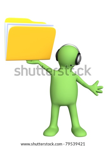 Conceptual image - a support service. Puppet with folder and headset. Isolated over white