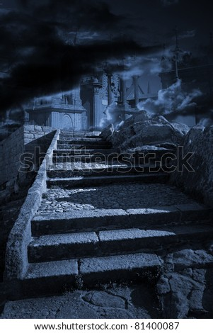 Conceptual image about life and death with old granite stairs and cemetery