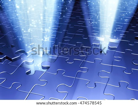 Conceptual image - an exit to the magic. Rays of light and magic spark that go into the holes in puzzle surface. 3d render