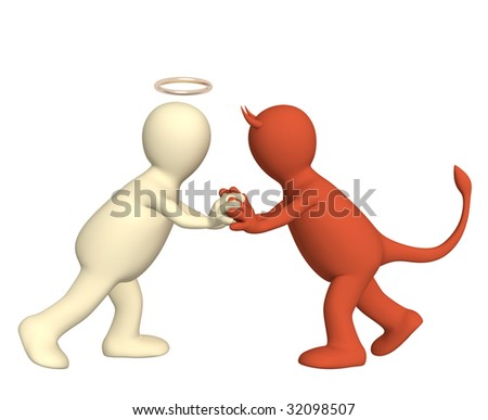 Conceptual image - an opposition of angel and devil - stock photo