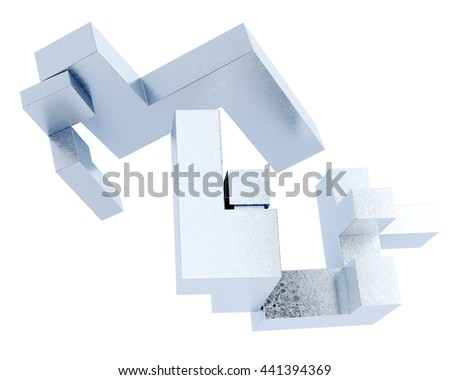 Conceptual image blocks isolated on a white background. Abstraction of metal figures. 3d rendering