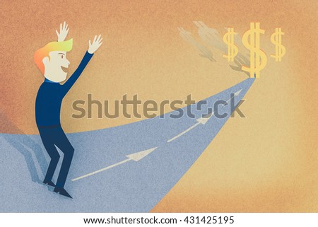 Conceptual image - Business man way to the success/make money - stock photo