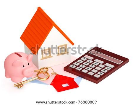 Conceptual image - calculation of the domestic finance - stock photo