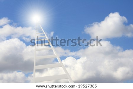 Conceptual image - 3d ladder in the sky - stock photo