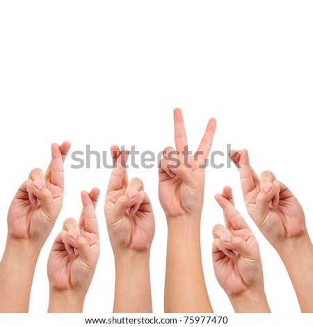 conceptual image, finger crossed and victory hand sign isolated on white with a copy space - stock photo