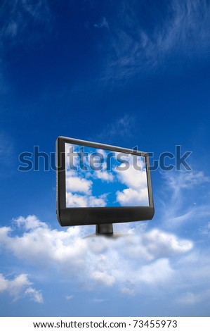 conceptual image for cloud computing, with a monitor in the sky, into clouds, displaying clouds on screen - stock photo