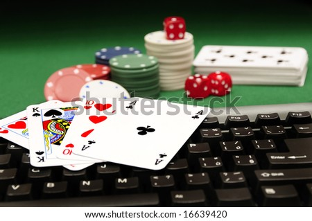 conceptual image for online gambling - stock photo