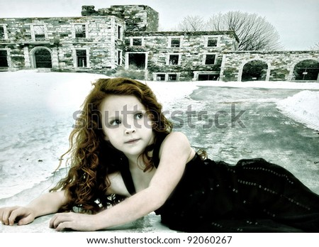 Conceptual image girl child runaway alone in cold weather. - stock photo