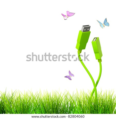 Conceptual image - green technology. 3d - stock photo