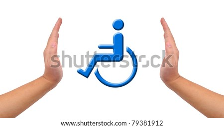 Conceptual image, help and care for handicapped person. Two hands isolated on white with blue wheelchair icon in the middle. - stock photo