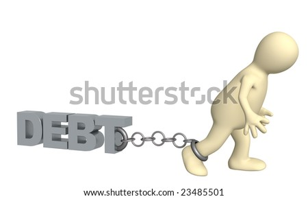 Conceptual image - hostage of the debt - stock photo
