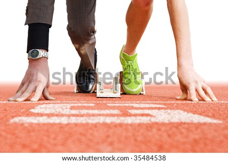 Conceptual image illustrating that being successful in business has strong parallels to being successful in top sports - stock photo