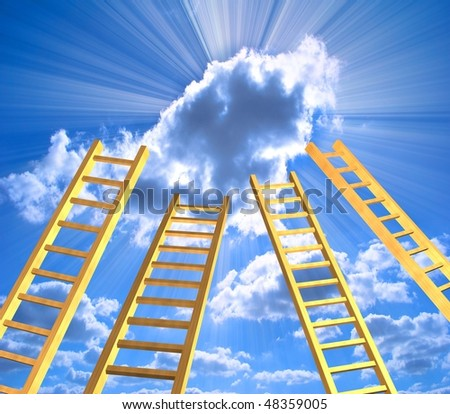 Conceptual image - ladders in the sky - stock photo