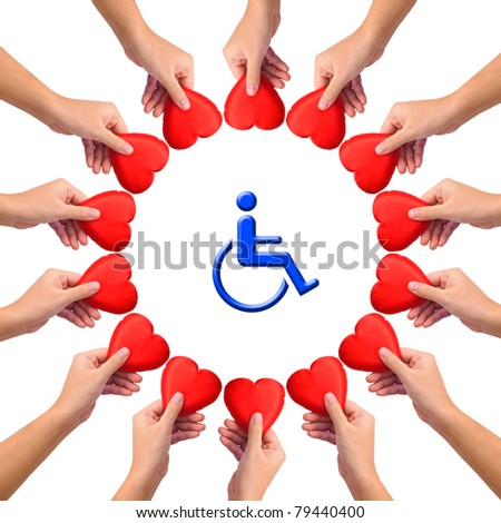 Conceptual image, Love handicapped person. Hands with hearts isolated on white with blue wheelchair icon in the middle. - stock photo