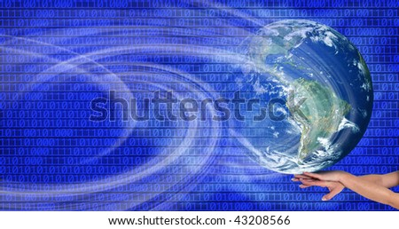 conceptual image of a big globe on hands