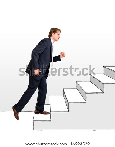 Conceptual image of a business moving up and making a career, one step at a time.
