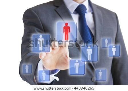Conceptual image of a businessman choosing the right person or team leader from a number of candidates