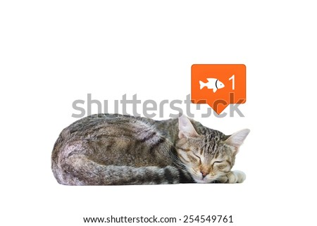 Conceptual Image of a Cat Dreaming Fish Isolated on a White Background. - stock photo