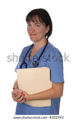 Conceptual image of a doctor with patient files.  Intended for any use where a medical inference is needed. - stock photo