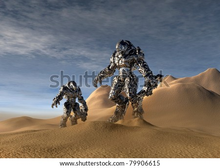 Conceptual image of a future soldiers with a stealth exoskeleton suit on in the battlefield. - stock photo