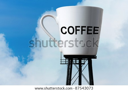 Conceptual image of a large supply of coffee in the form of a coffee mug atop water tower stilts.  A funny concept for caffeine addiction or coffee lovers. - stock photo