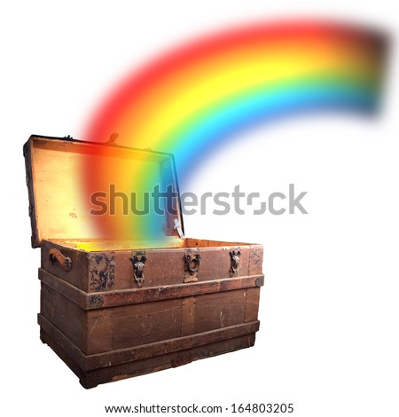 Conceptual image of a miniature wooden pirate treasure chest with a rainbow beaming out of it to depict wealth and prosperity. - stock photo