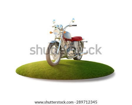Conceptual image of a motorcycle on a flying island - stock photo