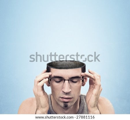 Conceptual image of a open minded man , lots of copyspace - stock photo