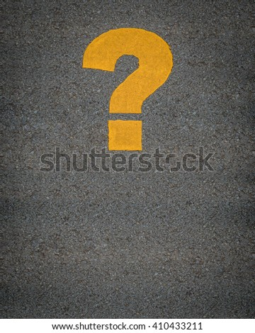 Conceptual Image Of A Question Mark As Yellow Asphalt Road Markings - stock photo