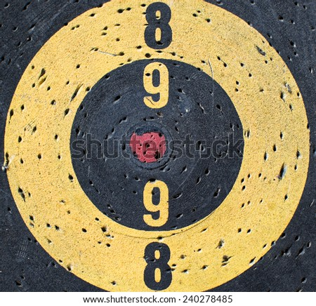 Conceptual image of a Target with  a misaligned red center - stock photo