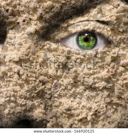 Conceptual image of a textured face can be used for different concepts - stock photo