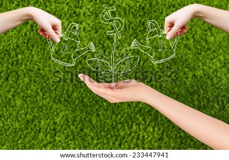 Conceptual image of a woman hand growing Dollar sign and hands watering the  flower drawing isolated on green background.Conceptual idea, Team. - stock photo