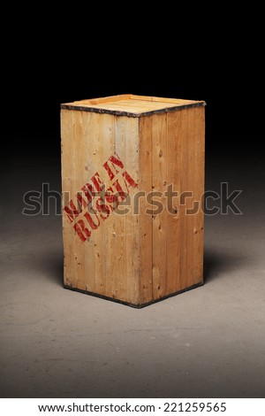 "Conceptual image of a wooden crate with text ""Made in Russia"" - stock photo"