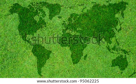 conceptual image of a world map on green field