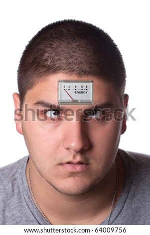 Conceptual image of a young man with a low energy meter on his forehead to illustrate tiredness. - stock photo