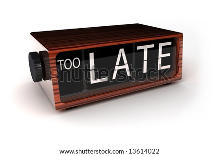 conceptual image of an alarm clock showing that you are too late - stock photo