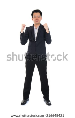 Conceptual image of an Asian Business man success - stock photo