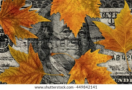 conceptual image of autumn leaves on dollar bill - stock photo
