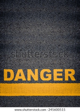 Conceptual Image Of Danger As Yellow Asphalt Road Markings With Single Line And Copy Space - stock photo