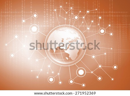 Conceptual image of digital planet with connection lines